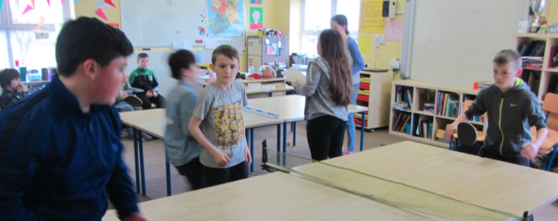 Children playing table tennis at St. Aidans Ballintrillick NS