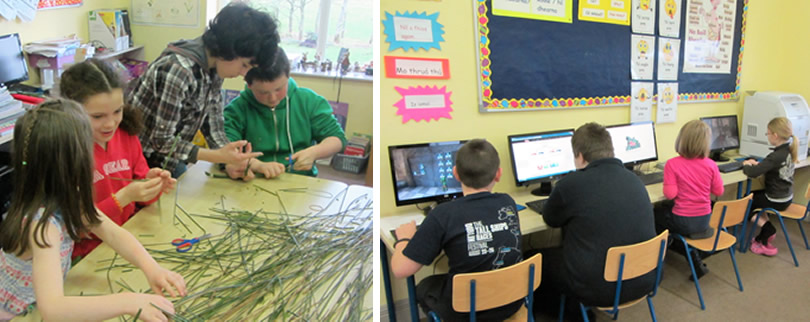 Pupils at St. Aidans NS Ballintrillick making St. Brigids Crosses & 2nd picture on the computers at school