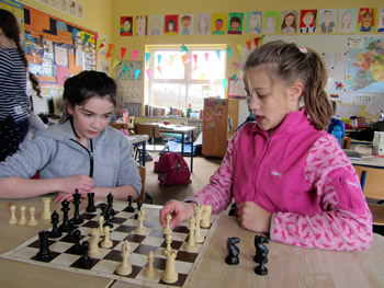 Girls at St. Aidans school Ballintrillick participating in chess