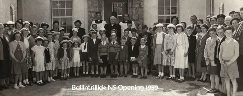 Pupils stood in front of St Aidans NS when it opened in 1959