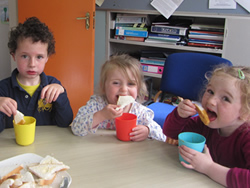 Children eating the soup they made at St Aidans NS Ballintrillick